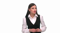 Girl in business clothes, eavesdropping on a white background Stock Footage