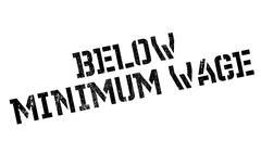 Below Minimum Wage rubber stamp Stock Illustration