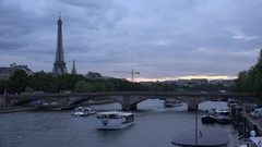 4K Eiffel Tower Paris, Boats on Seine River, Tourists Ships Traveling on Senna Stock Footage
