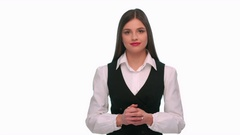 Girl in a business suit shows that she remembers and take revenge for all Stock Footage
