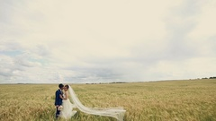 Young couple, just married in love stading in a wheat field. Looking at each Stock Footage