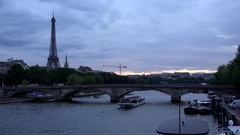 4K Eiffel Tower Paris Timelapse, Boats on Seine River, Tourists Ships Traveling Stock Footage