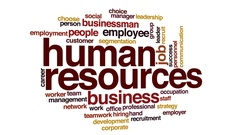 Human resources animated word cloud, text design animation. Kinetic typography. Stock Footage