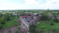Ukraine, the city of Peschanka, 09 18 16. ATO, war, destroyed homes Stock Footage