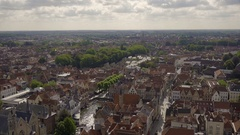 Wide Shot Of Bruges, Belgium (View From The Belfry, A Medieval Bell Tower) Stock Footage
