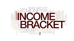 Income bracket animated word cloud, text design animation. Stock Footage