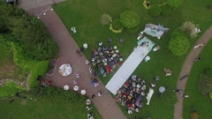 Aerial shot of wedding. couple near arch Stock Footage