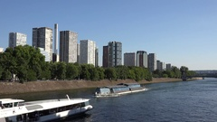 4K Seine River Paris, People Tourists Boats Traveling on Senna, Ships Trip View Stock Footage
