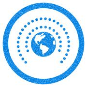 Earth Sphere Shield Rounded Icon Rubber Stamp Stock Illustration