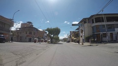 P.O.V. - driving in the city of Cajamarca Peru Stock Footage
