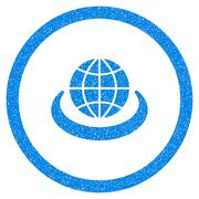 Global Network Rounded Icon Rubber Stamp Stock Illustration