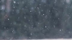 Snow or snowfall outdoors in winter Stock Footage