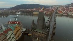 Czech Republic. Prague. 10.11.16. View of the Charles Bridge with a bird's-eye Stock Footage