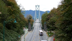Motion of traffic flow on Lions Gate Bridge at Stanley Park Stock Footage