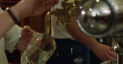 Pouring draft beer 4k slow motion Stock Footage