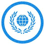 Global Emblem Rounded Icon Rubber Stamp Stock Illustration