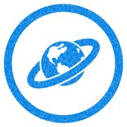 Ringed Planet Rounded Icon Rubber Stamp Stock Illustration
