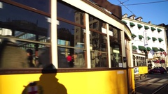 Vintage trams at the stop Stock Footage