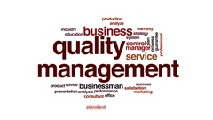 Quality management animated word cloud, text design animation. Stock Footage