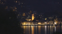 Lake Lugano at night Stock Footage