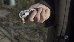 Opening Blade of Switchblade Automatic Knife, Slow Motion Stock Footage