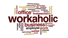 Workaholic animated word cloud, text design animation. Stock Footage