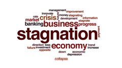 Stagnation animated word cloud, text design animation. Stock Footage