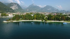 Aerial view of the Italian lakeside town Riva Lake Garda Italy Stock Footage