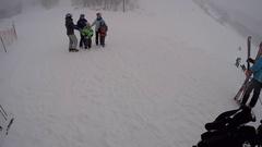 Putting on skiis POV. Stock Footage
