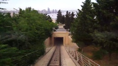Passenger's perspective of looking up the tracks of the Monongahela Incline Stock Footage
