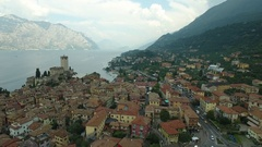 Malcesine castle, aerial shot, Italy Stock Footage