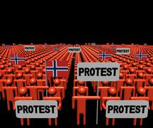 Crowd of people with protest signs and Norwegian flags illustration Stock Illustration