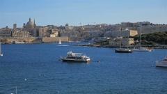 Marsamxett Harbour, Valletta, Malta Stock Footage