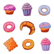 Set of sweets baking products. Dessert icons flat style Muffin, donut, macaroon Stock Illustration