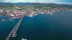 Bridge of city Tromso, Norway Aerial footage Stock Footage