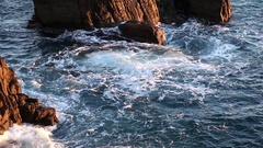 Coast of rocks near Cinque Terre Stock Footage