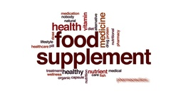 Food supplement animated word cloud, text design animation. Stock Footage