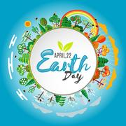 Earth Day. Eco friendly ecology concept. Vector illustration Stock Illustration