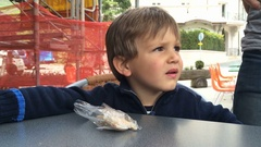 Child angry at something Real life confused kid annoyed. Stock Footage