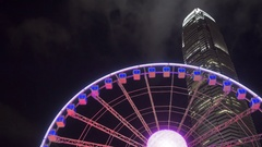Ferris Wheel in Hong Kong at Night, timelapse 4k Stock Footage