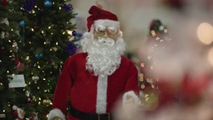 View of Santa Claus doll dancing Stock Footage