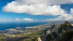 View to Kyrenia (Girne) city from Saint Hilarion Castle. Northern Cyprus Stock Footage