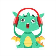 Little Anime Style Baby Dragon Listening To Music With Headphones Cartoon Stock Illustration