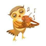 Owl Playing Violin Cute Cartoon Character Emoji With Forest Bird Showing Human Stock Illustration