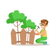 Boy Building Wooden Fence Around Plants Helping In Eco-Friendly Gardening Stock Illustration