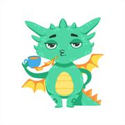 Little Anime Style Baby Dragon Warming Up Tea With Fire Cartoon Character Emoji Stock Illustration