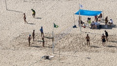 Time lapse of people playing Beach volleyball, Rio de Janeiro, Brazil Stock Footage