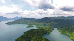 Aerial view on Cheow Lan Lake, Thailand Stock Footage
