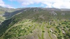 Bucegi plateau and mountains, Romania, aerial view Stock Footage