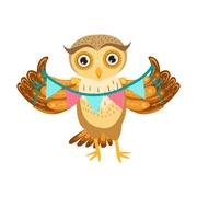 Owl Holding Paper Garland Cute Cartoon Character Emoji With Forest Bird Showing Piirros